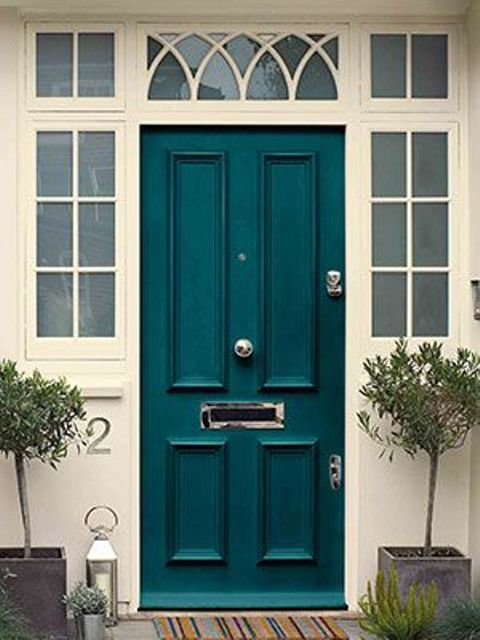 Picture of classic teal front door Dark green front door paint