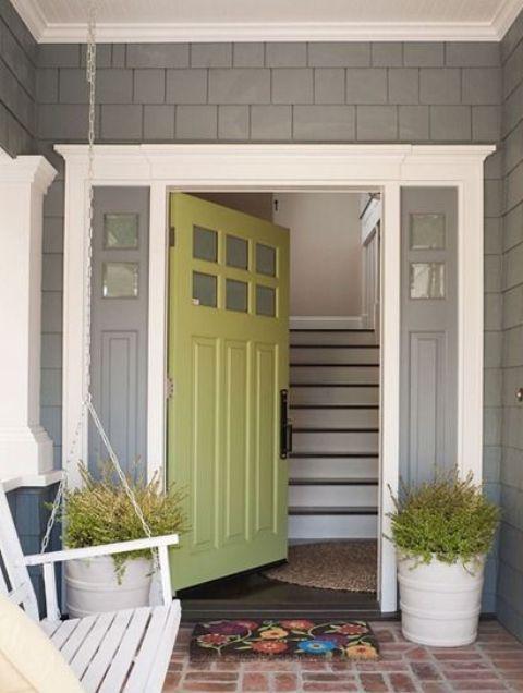 Green Front Door With Grey Sidelights