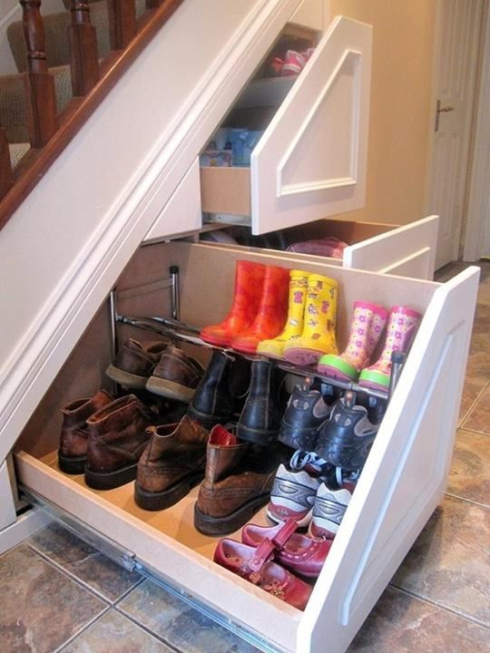 under the stairs shoe storage won't take any floor space