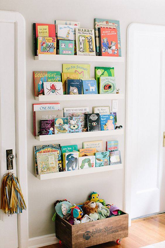 25 space saving kids rooms wall storage ideas shelterness for Wall shelves kids room