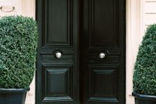 03 black doors with white knobs and potted evergreens