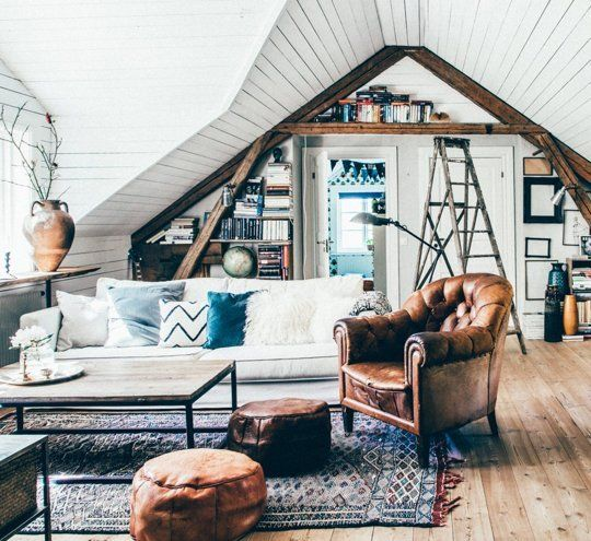 03 boho chic and Scandinavian attic living room