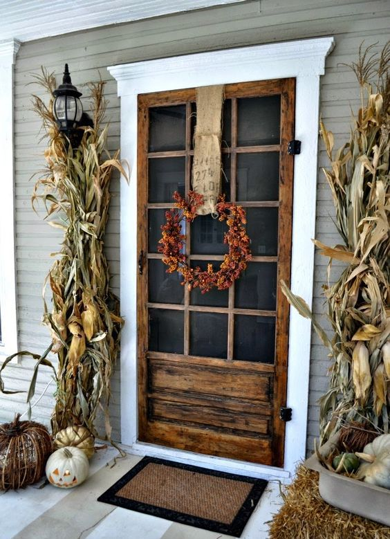 shabby chic reclaimed wood front door