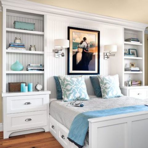 Dressers And Bookcases On The Sides Of The Bed Provide Lots Of Storage Space