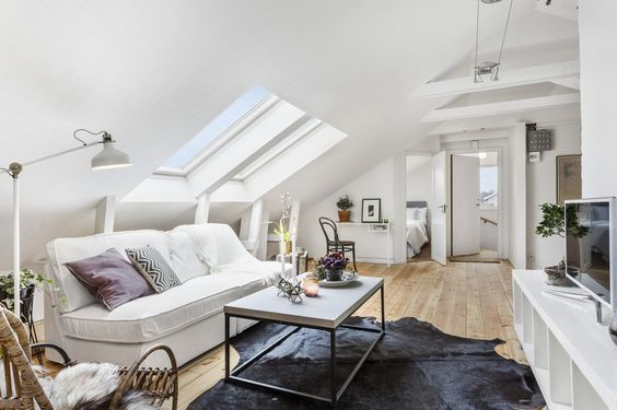 chic modern attic living room