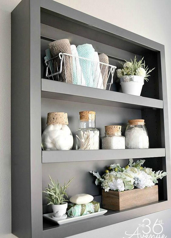New Open Bathroom Shelving Unit In Grey