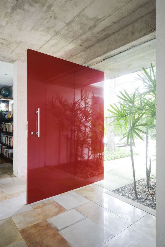 oversized bold red glass front door