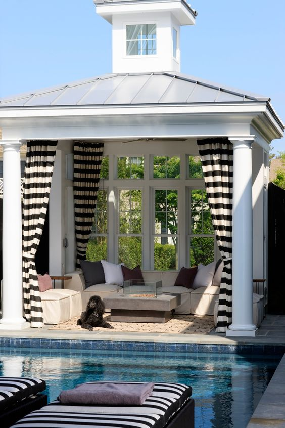 striped curtains work for privacy and sun protection