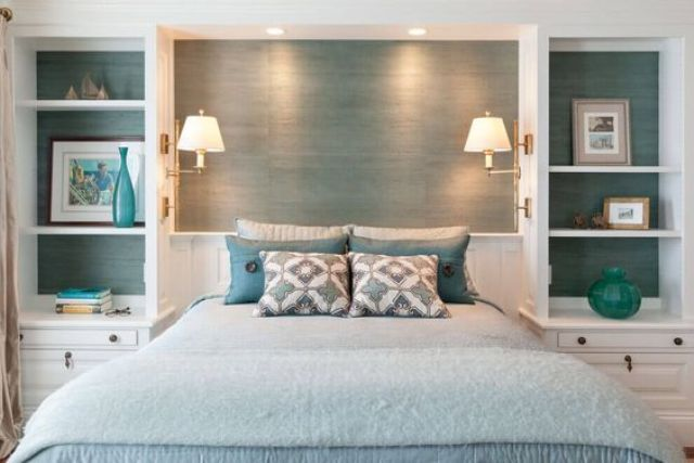 transparent shelving units behind the headboard show the color of the wall
