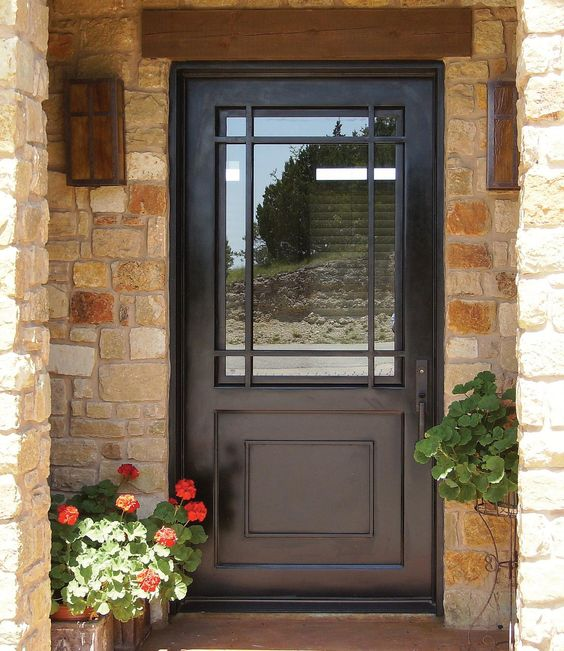 27 chic dark front doors to try for your entry shelterness for Front door with large window