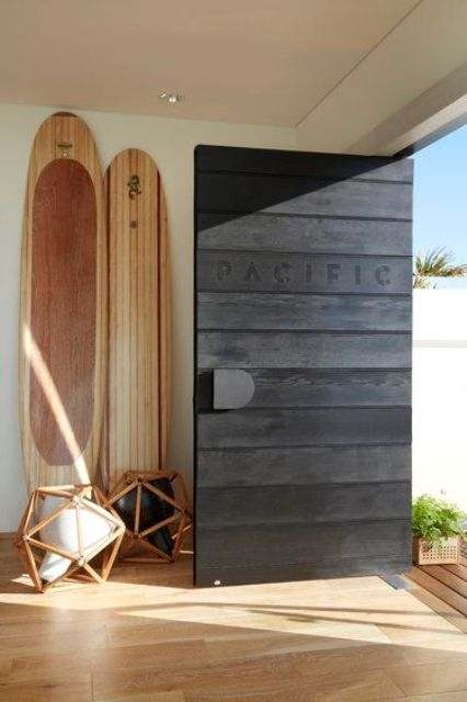 black wood planks with a stamp
