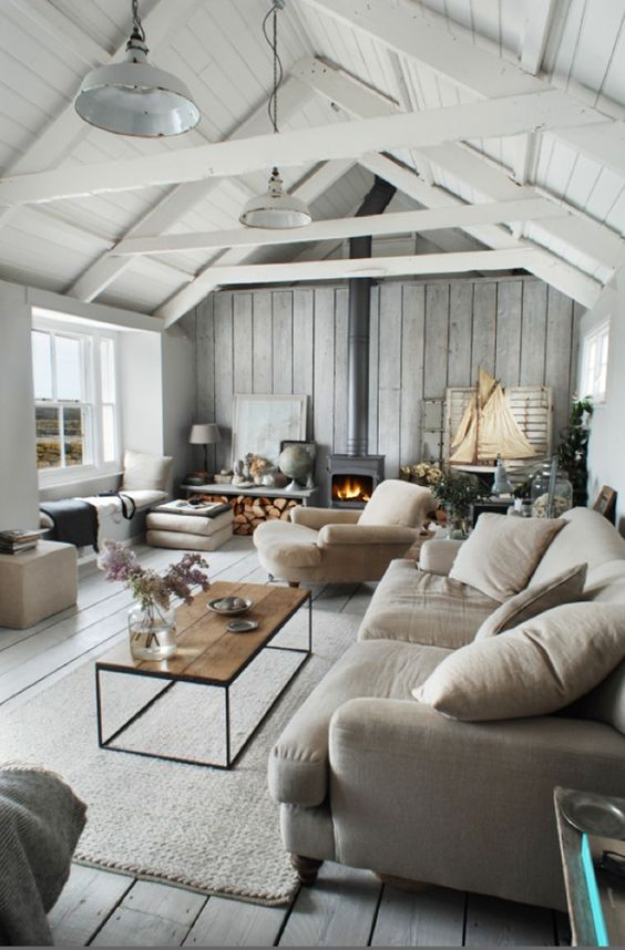 coastal chic attic living room