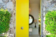 05 narrow yellow doors with antique handles
