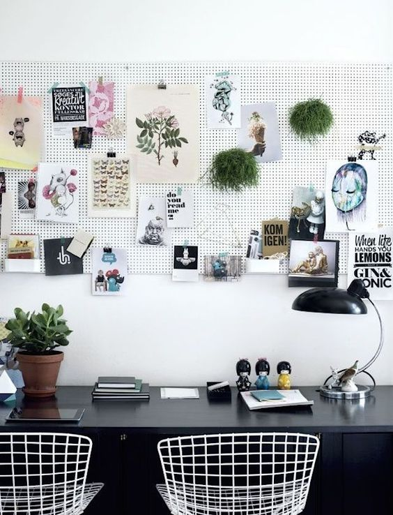 pegboard for hanging memos, pics and plants
