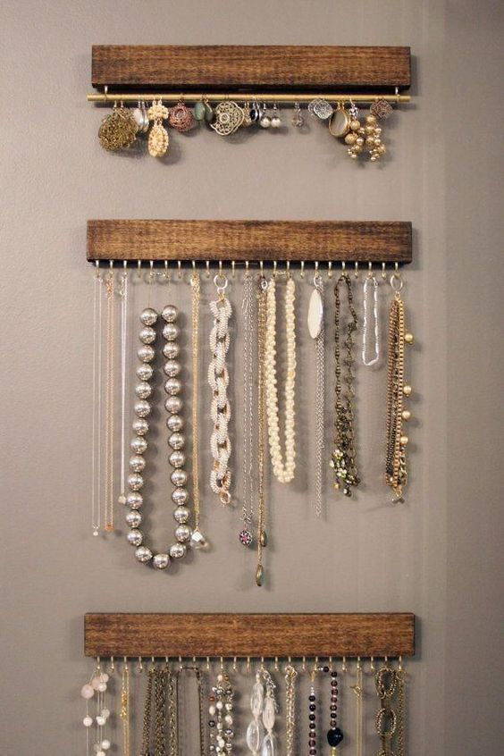 wood and brass jewelry display racks you can easily DIY