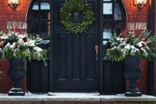 06 black front door with a round arch and sidelights