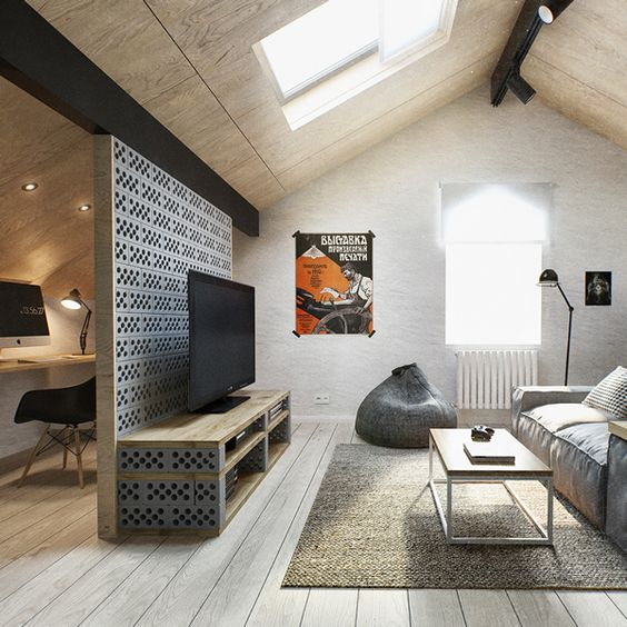industrial attic living room in greyish shades