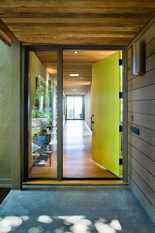 neon metal and glass front doors
