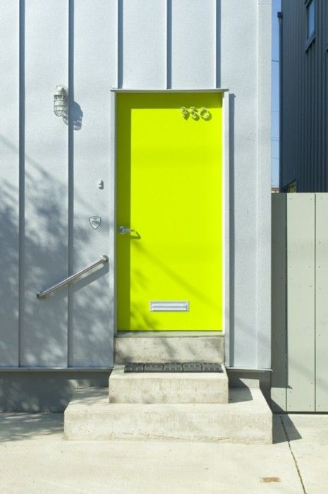 neon yellow simple modern door