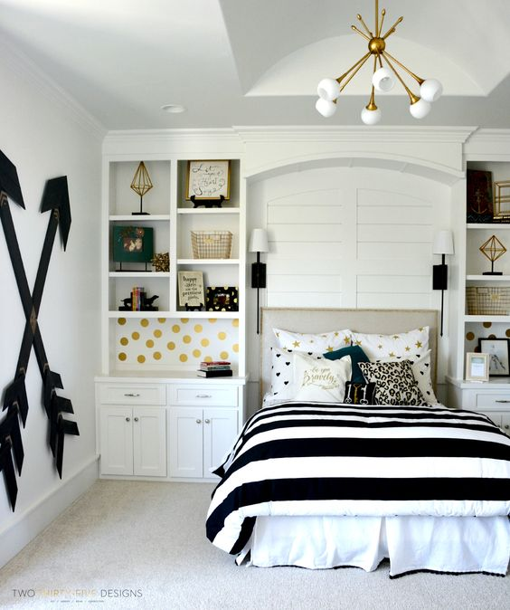 Bedroom Wall Storage · Wallpaper Is A Nice Way To Make Storage Looks Better
