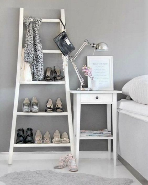 stylish ladder for shoes in a bedroom