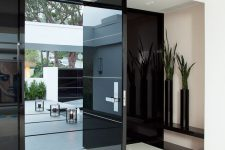 07 black glass front door