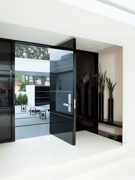 26 modern front door designs for a stylish entry shelterness for Glass doors for front entrance