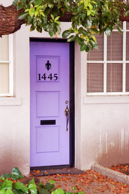 ombre purple front door with dark numbers