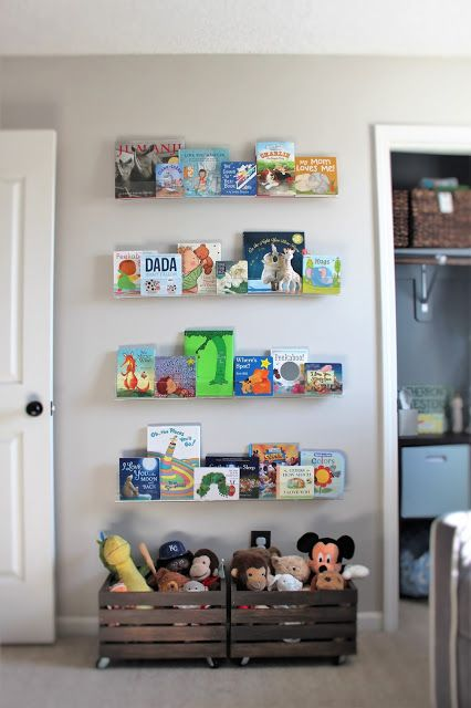 floating shelves to display kids books