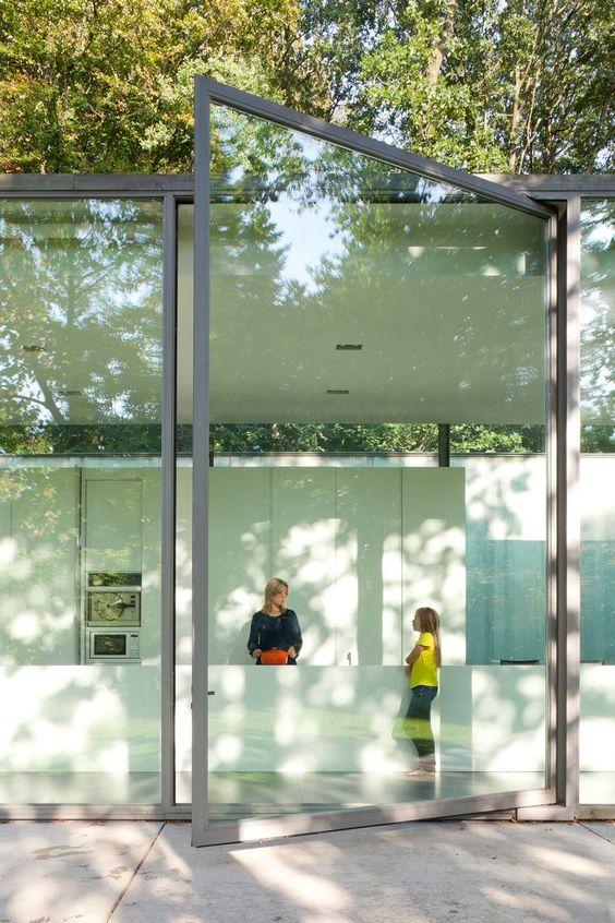 oversized framed glass pivot door