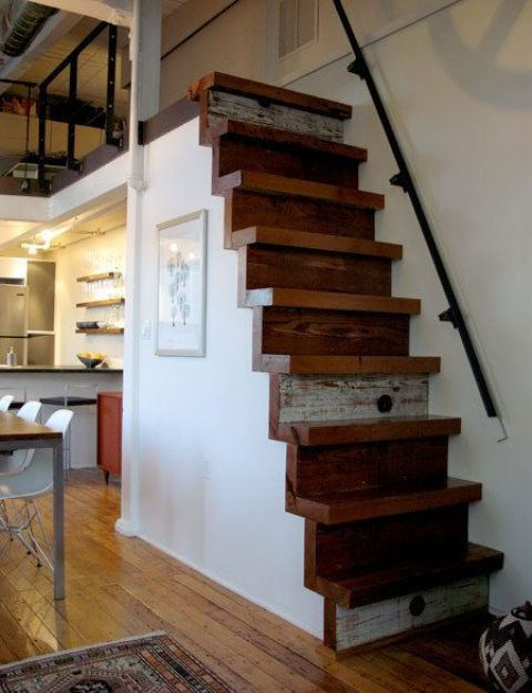 Reclaimed Wood Stairs On The Side Of The Kitchen