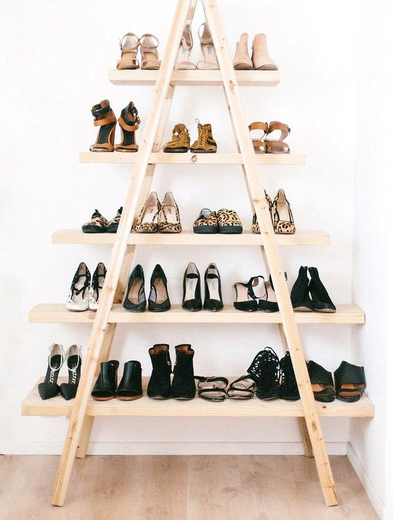 wooden ladder shoe display