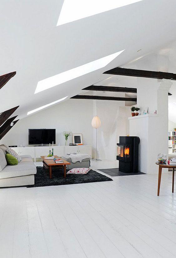 26 stylish attic living rooms decor ideas shelterness for White minimalist living room
