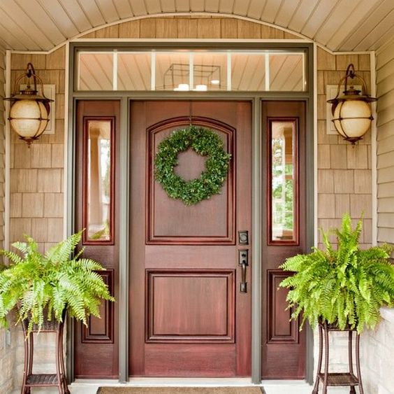 27 cool front door designs with sidelights shelterness for Wood door design latest