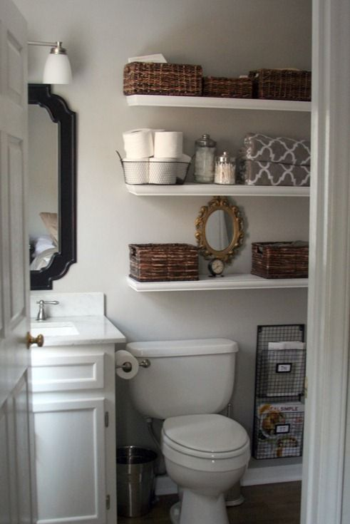 Luxury simple floating shelves over the toilet