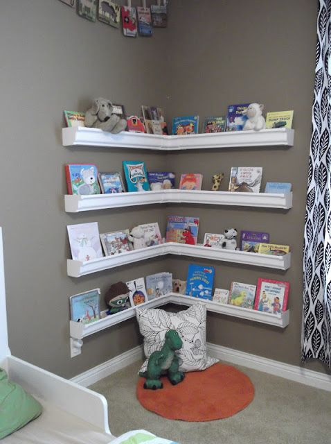 wide ledges bookshelves for a reading nook