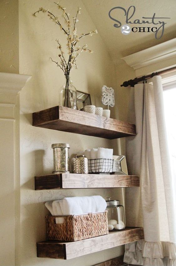 Beautiful thick rustic DIY floating bathroom shelves