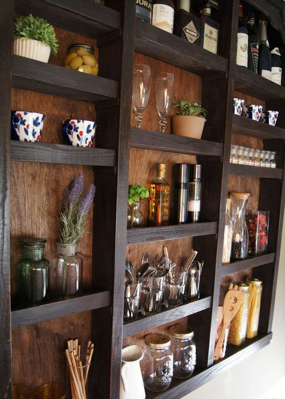 built-in kitchen wall shelves