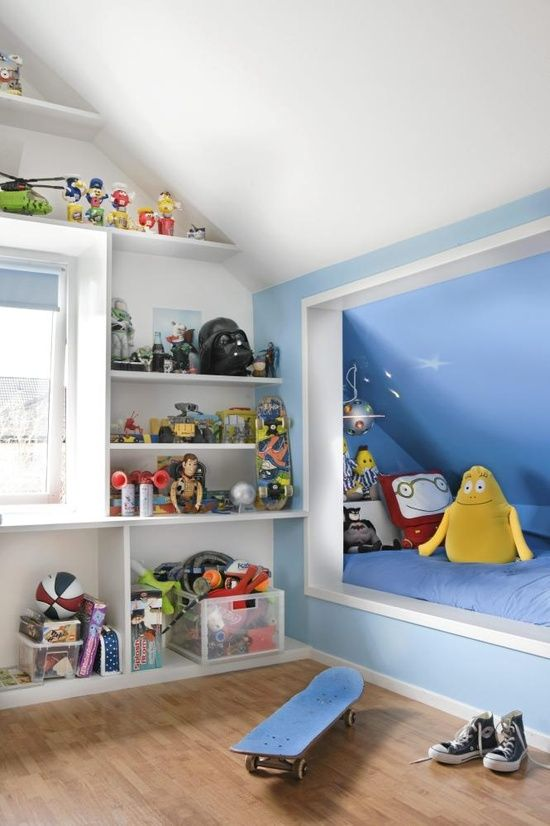 built-in shelves and niches for toys