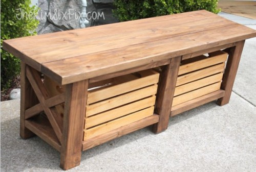 diy x leg wooden bench with crate storage via shelterness