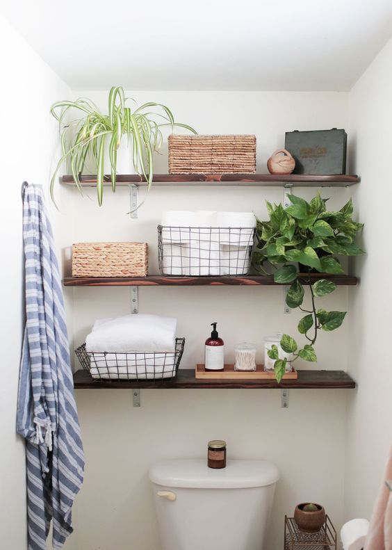 Elegant Dark Stained Open Bathroom Shelves Part 8