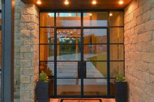 10 framed black steel and glass doors