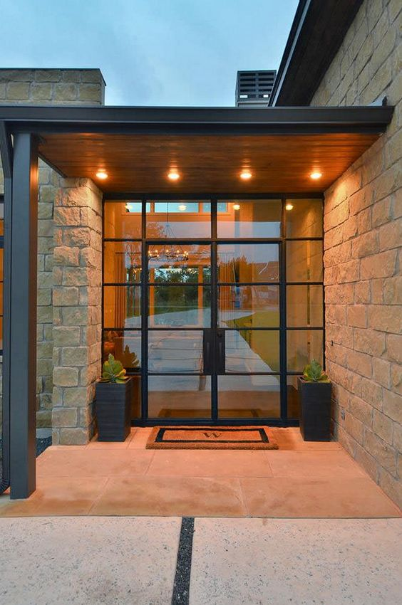 framed black steel and glass doors