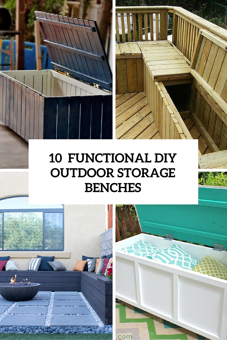 10 Smart DIY Outdoor Storage Benches - Shelterness