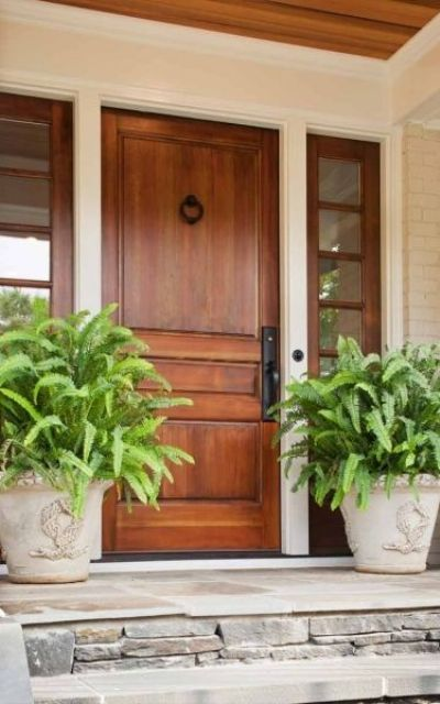 27 cool front door designs with sidelights shelterness for Wooden front doors with glass