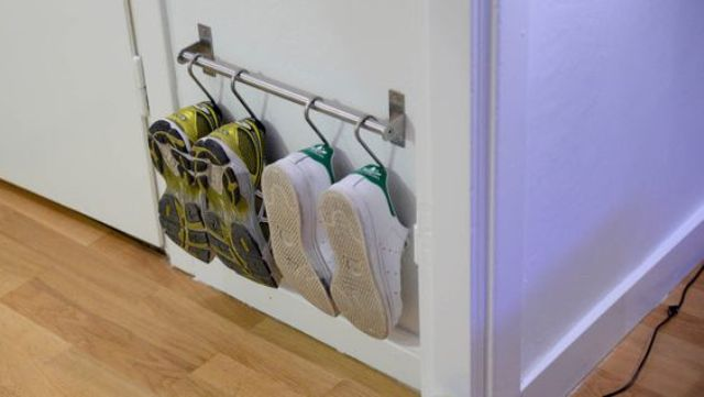 IKEA Grundtal rails for hanging shoes and flipflops