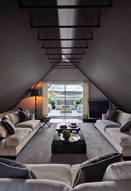 11 dark and moody attic living room with dark colored ceilings
