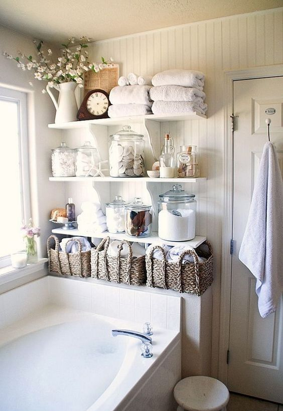 Good shabby chic open bathroom shelves