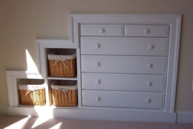 built-in dresser and cubbies could be framed with trim