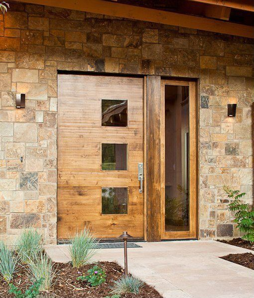 Contemporary Wood And Glass Front Door
